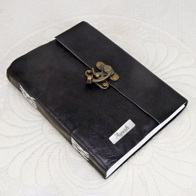 Handmade Personalized Black Leather Diary With Lock