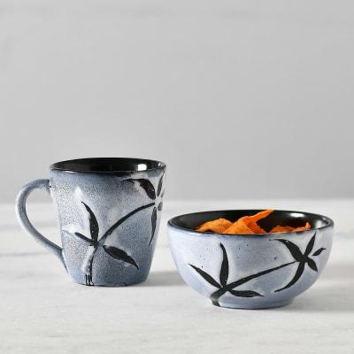 Handmade Stoneware Black Mug & Bowl Set