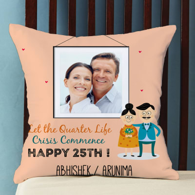 Happy 25th Personalized Satin Pillow