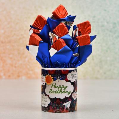 Happy Birthday Mug With 7 Pcs Dark Chocolate Bouquet
