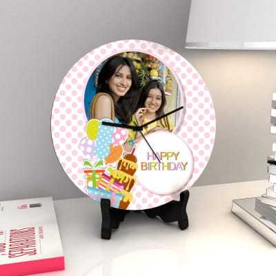 Happy Birthday Personalized Round Wooden Clock