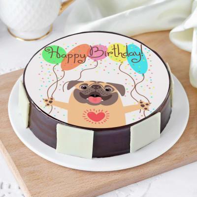 Happy Birthday Pug Cake (Eggless) (Half Kg)