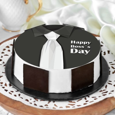 Happy Boss's Day White Tie Poster Cake (Half Kg)