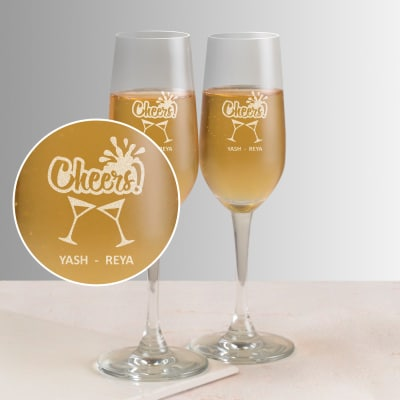 Happy Cheers Personalized Set of Two Champagne Glasses