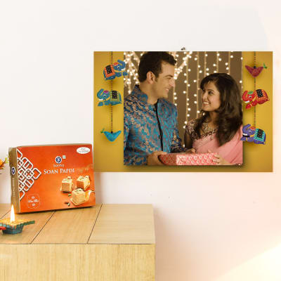 Happy Diwali Cute Personalized A3 Canvas with Soan Papdi