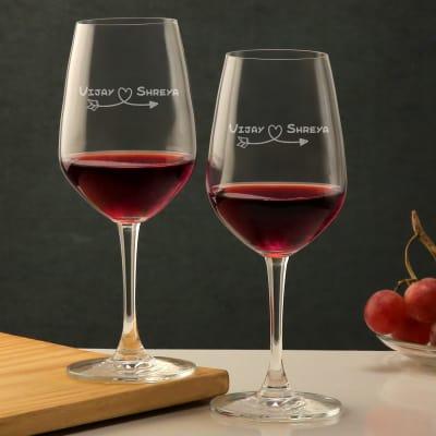 Heart & Arrow Personalized Wine Bordeaux Glass