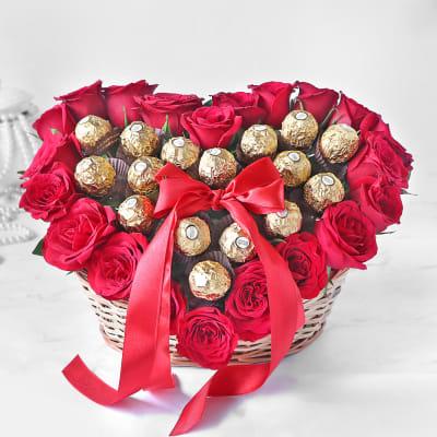 Heart Bouquet of Red Roses & Ferrero Rocher