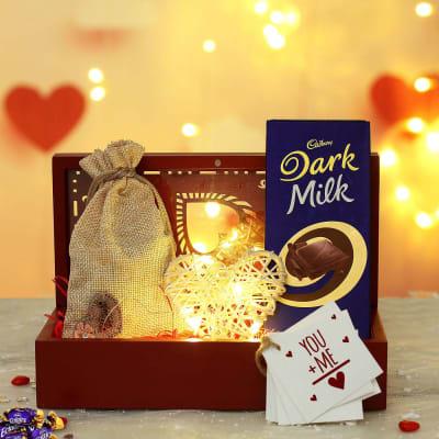Heart Design Wooden Box with Led Light and Cadbury Chocolates