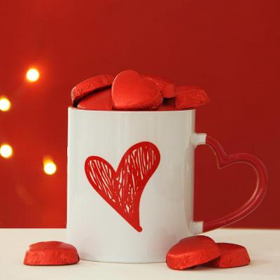 Heart Handle Mug With Shape Chocolates