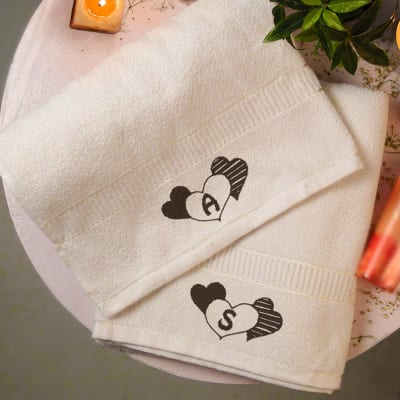 Personalized beauty fragrances online send personalized gifts to heart print personalized white towel set negle Image collections