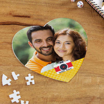 Heart Shape Paper Puzzle Made Of Hard Bord Personalized With 1 Photo