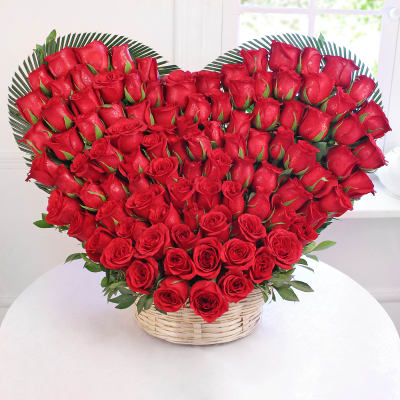 Heart Shaped Basket Of 100 Red Roses