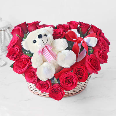 Heart Shaped Basket of Red Roses with Teddy