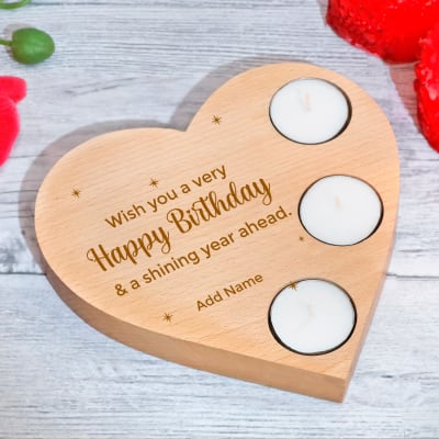 Heart Shaped Birthday Personalized Tea-Light Candle Holder