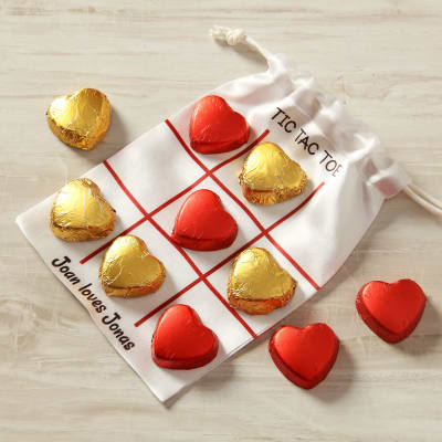 Heart Shaped Chocolates With Personalized Tic Tac Toe Potli