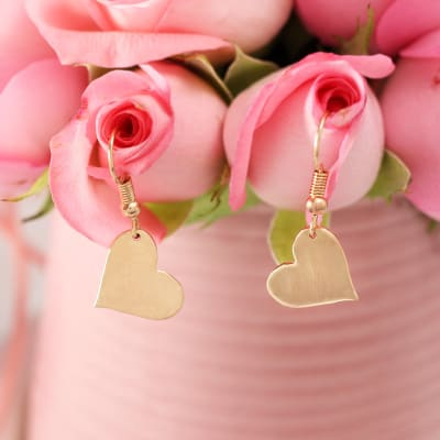 Heart Shaped Danglers with Rose Gold Finish