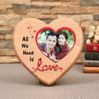Heart Shaped Personalized Wooden Photo Frame