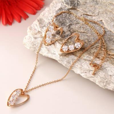 Heart Shaped Stone Studded Fashionable Pendant Set