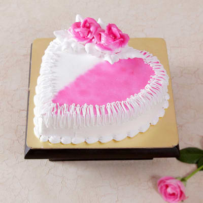 Heart Shaped Strawberry Cake Half Kg Order Cakes OnlineHD1094092