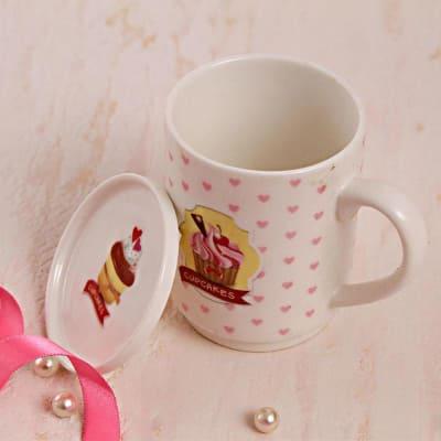 Hearts Printed Ceramic Mug with Lid
