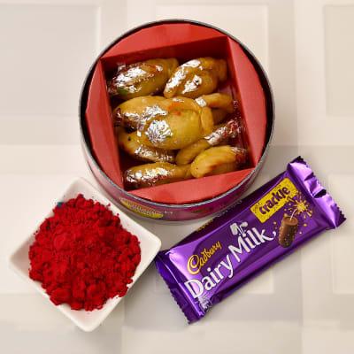 Holi Gulal with Baby Pagi Gujiya and Cadbury Chocolate Bar