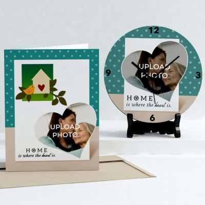 Home is where the heart Personalized Clock & Card combo