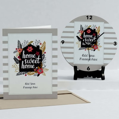 Home Sweet Home Personalized Clock & Card combo