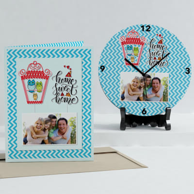 Home Sweet Home Personalized Clock & Card combo for House Warming