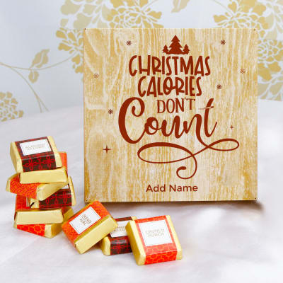 Homemade Chocolates in Wooden Christmas Gift Box
