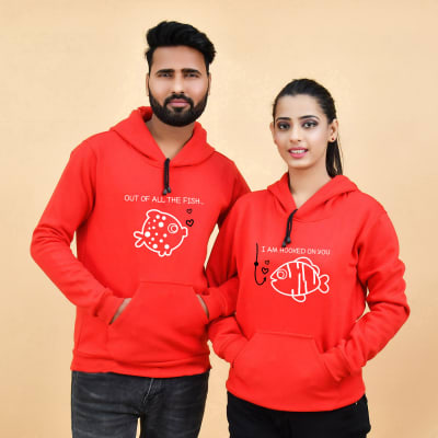 Hooked With You Red Hoodie for Couple