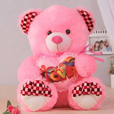 Hot Pink Hugging Teddy Bear With Heart Gift Send Toys And Games Gifts Online L11007199 Igp Com