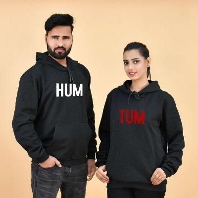 Hum Tum Grey Color Hoodie for Couple