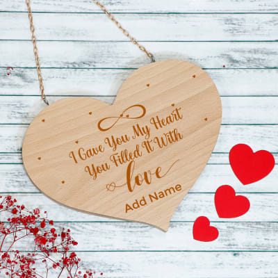 I Gave You My Heart Personalized Wooden Wall Hanging