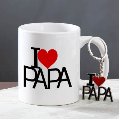 I Love Papa Quoted Ceramic Mug And Keychain