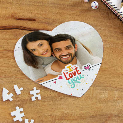 I Love You Personalized Paper Heart Shaped Puzzle