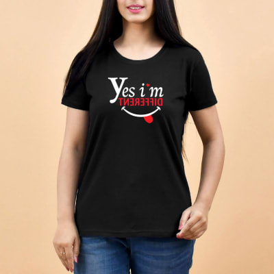 I'm Different Black T-Shirt for Women