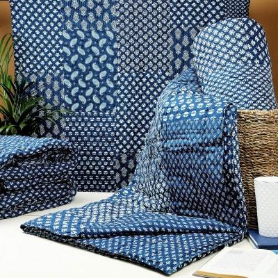 Indigo Blue Patch Design Block Print Double Bed Cotton Quilt