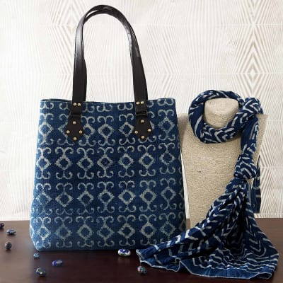 Indigo Blue Woven Rug Handbag With Stole