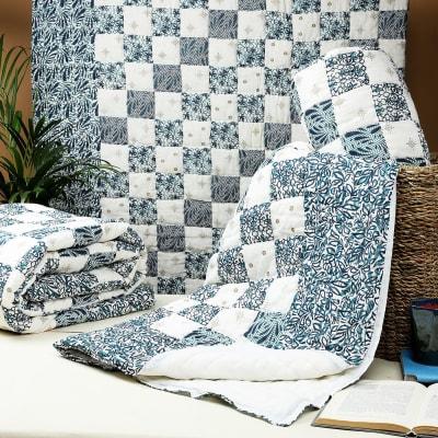 Indigo Patch Design Printed Single Bed Cotton Quilt
