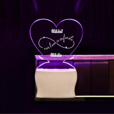 Infinite Love Personalized Heart Shaped LED Lamp