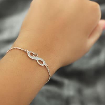 Infinity Heart Silver Toned Bracelet