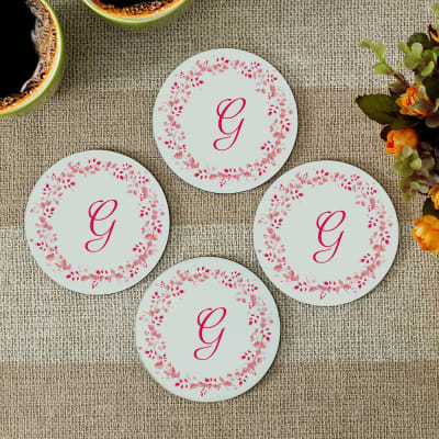 Personalized kitchen dining online send personalized gifts to initial personalized round coasters set of 4 negle Choice Image