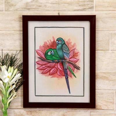 Inseparable Bonds Bird Silk Painting