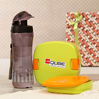 Insulated Food Carrier with Sipper Bottle in Gift Box