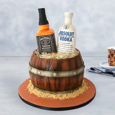 Jack Daniels And Absolut Vodka Fondant Cake (Eggless) (5 Kg)
