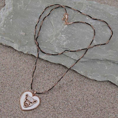 Jaguar Design Rose Gold Swarovski Long Chain Pendant Necklace