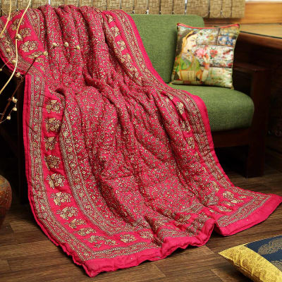 Jaipuri Print Single Bed Quilt In Cotton