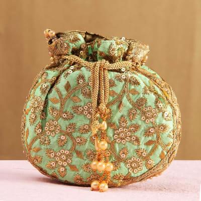 Jari Work Potli Shaped Handbag