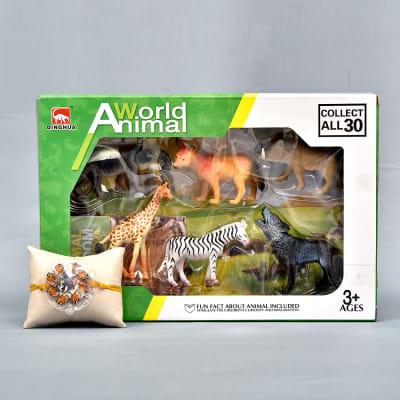 Joyful Kids Special Cartoon Rakhi with Set of 6 World Animals