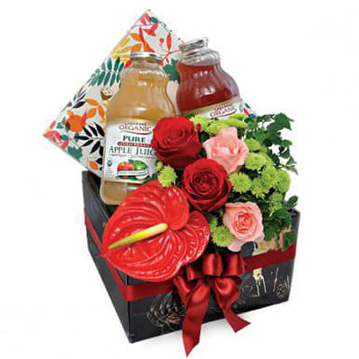 Juicy Wellness - Get Well Hamper with Lakewood Juice and Flowers